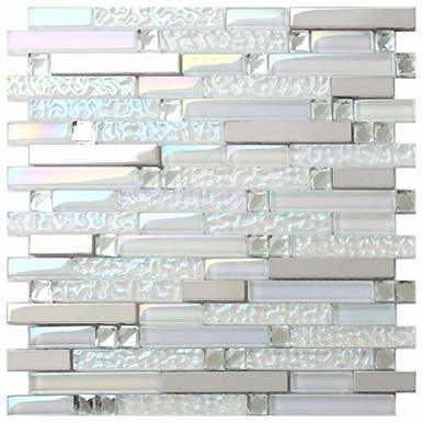 New Design Tst Glass Metal Tile Iridescent White Glass Silver Mirror Stainless Steel Blends Interlocking Strip Wall Tiles Big Sale 1 Sample 12x12 Inches In 2020 Metal Tile Backsplash White Glass
