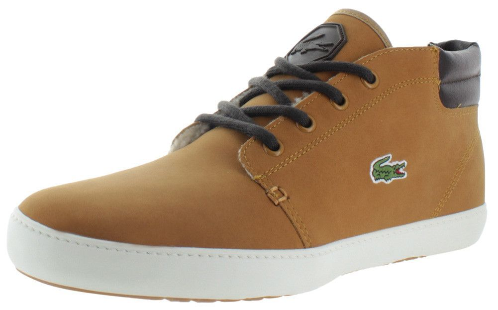 31546eaa43 Step up your shoe game with The Lacoste Ampthill Terra Put Men's Shoes.  These shoes feature a mid top style, 100% leather upper, Lacoste croc logo  on the ...