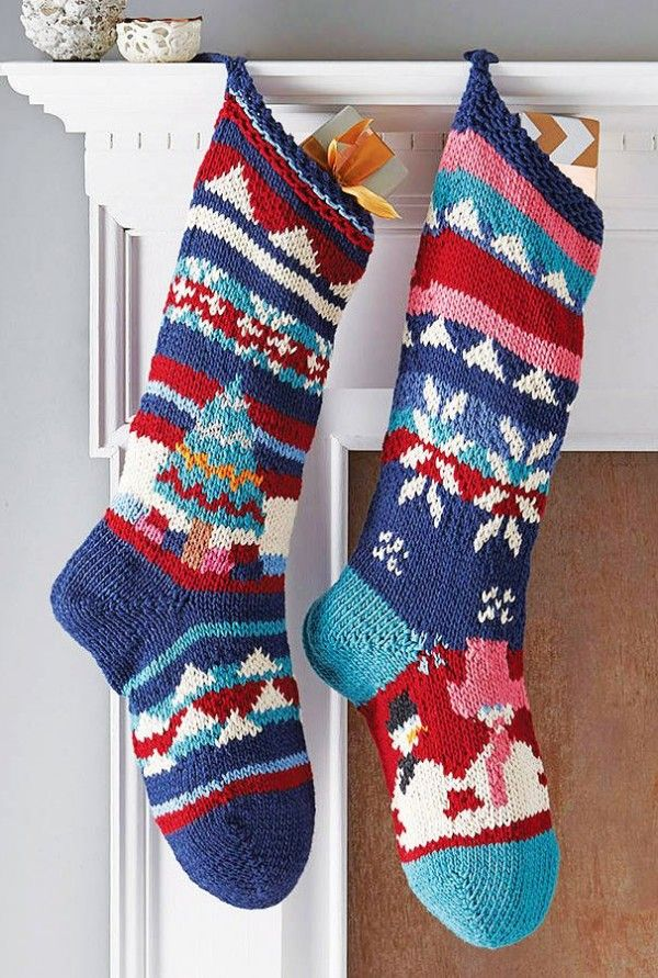 Christmas knitted stocking,Blue Aztec Knitted Stocking for Christmas ...