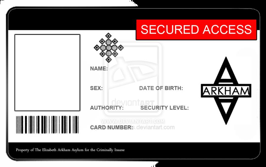 Arkham Asylum ID Card Blank by VortexVisuals Arkham