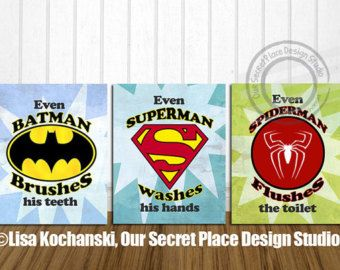 Superhero Bathroom Wall Art Super Hero By OurSecretPlace