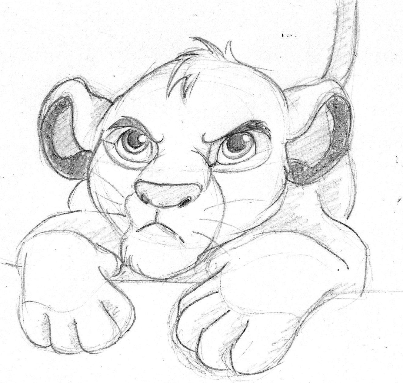 Disney sketch simba the lion king art by anna helena for Small drawing ideas