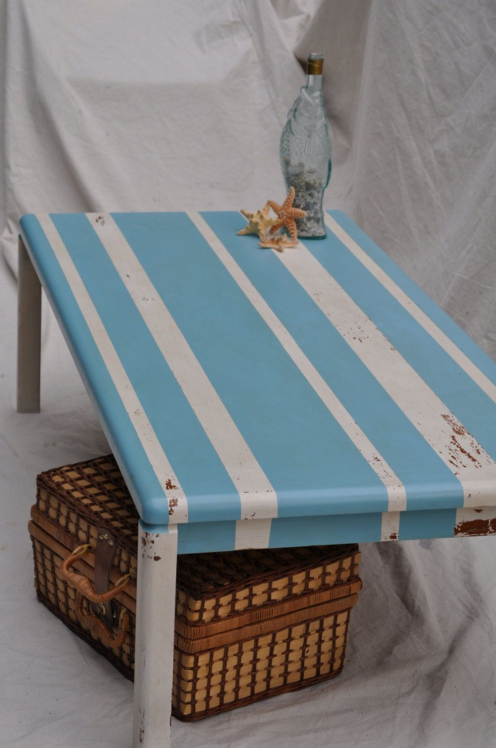 Distressed Coffee Table Shabby Chic Beachy Blue And White Striped Distressed 175 00 Via Etsy Shabby Chic Coffee Table Distressed Coffee Table Coffee Table