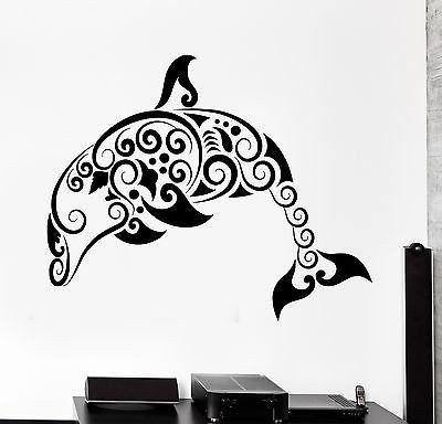 Wall Decal Dolphin Ocean Marine Sea Ornament Tribal Mural Vinyl