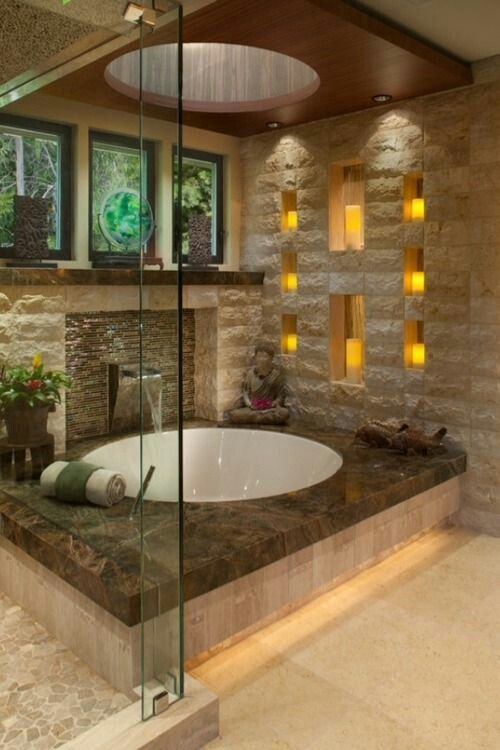 Waters Enter Tub Through Wide Spout Multiple Recesses In Wall For
