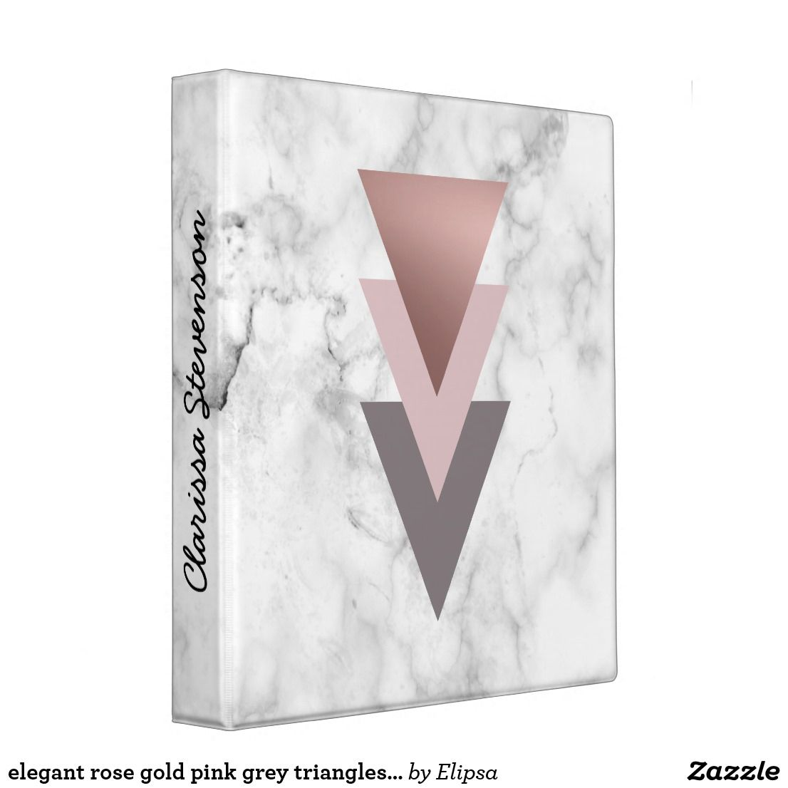 Elegant Rose Gold Pink Grey Triangles White Marble 3 Ring