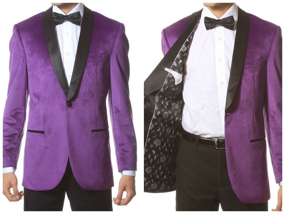Velvet Highlight Blazer Enzo Satin Shawl Lapel, slim fit Purple 1 button