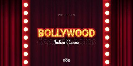 Bollywood indian cinema Movie banner or poster in retro style with theatre curt