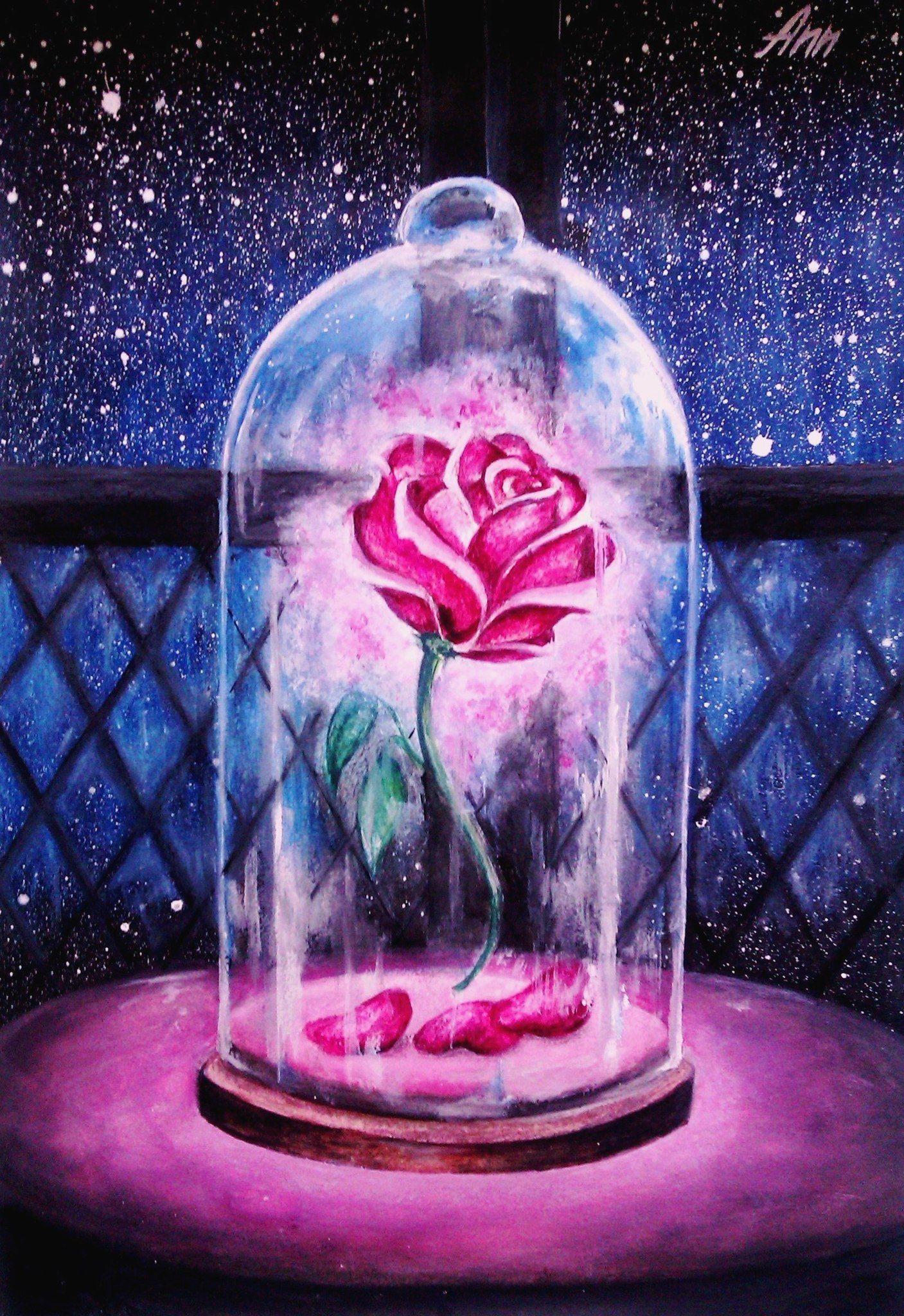 """Rose Eternelle et lumière LED """"La Belle et la bête"""