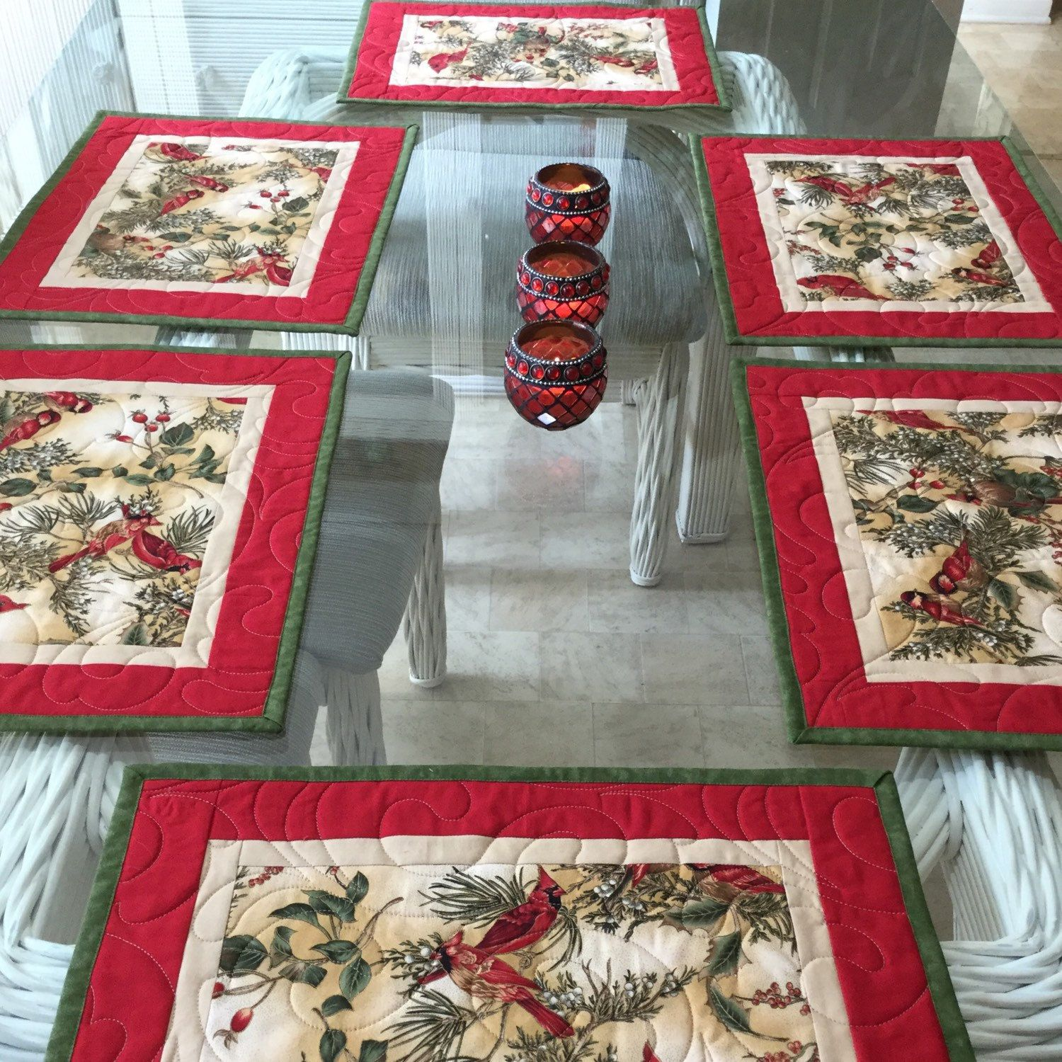 Christmas Placemats Quilted Placemats Poinsettia Placemats Etsy Christmas Placemats Place Mats Quilted Table Runner And Placemats