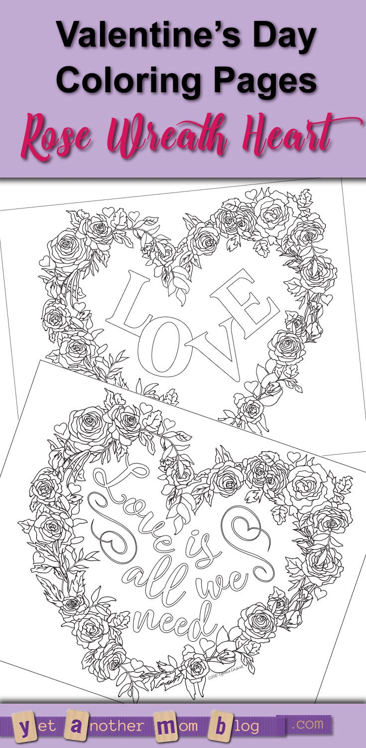 Valentine S Day Coloring Pages Heart Shaped Wreath Of Roses Pdf