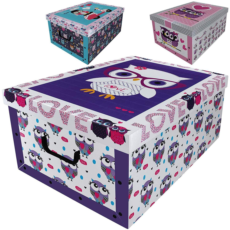 Aufbewahrungsbox 45L mit Deckel im Eulen Design 3er Set