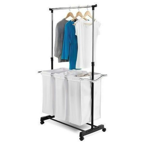 Triple Laundry Sorter With Hanging Bar Three Compartment Separator