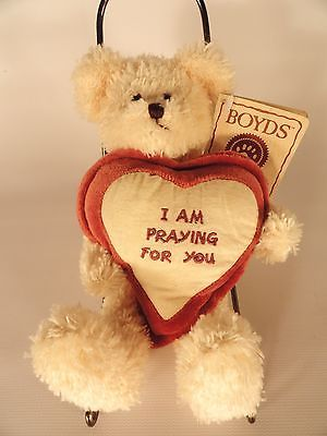 NWT Boyds Head Bean Collection I am Praying for You pillow cream bear RETIRED