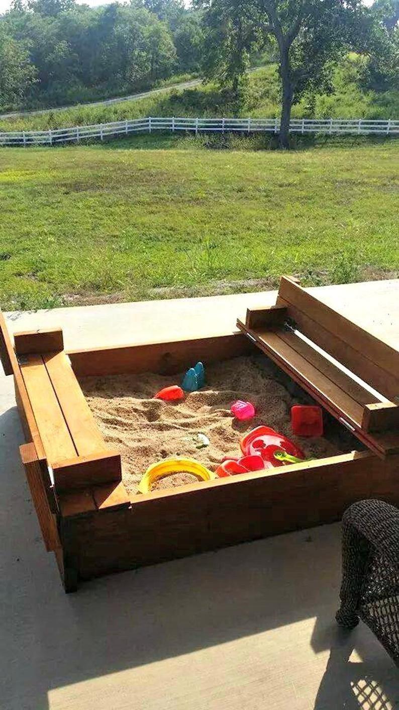 Sand Box With Coversandbox Wooden Sand Box Etsy In 2020 Sandbox Sandboxes Wooden