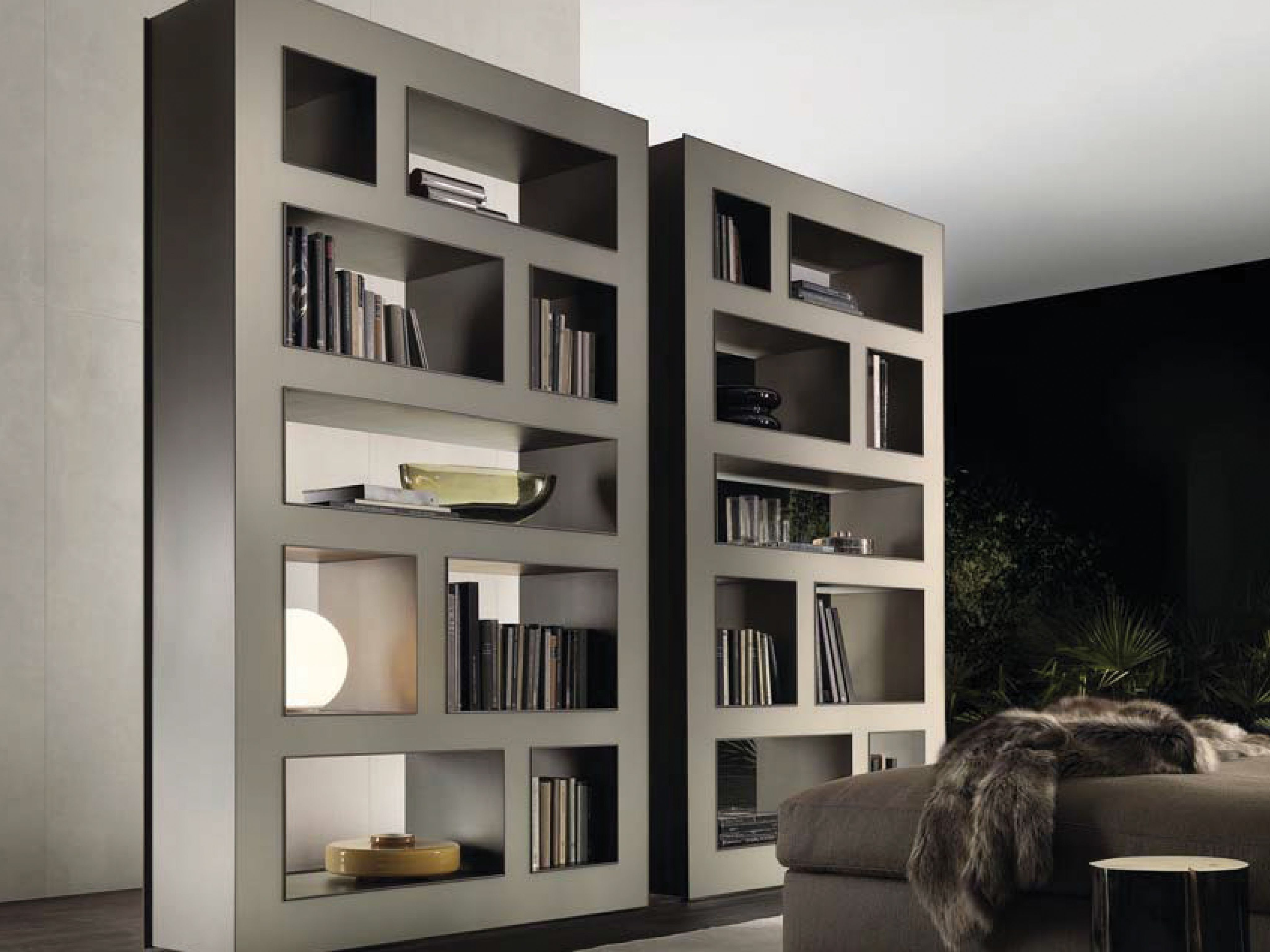 Stele Bookcase In Lino Mat Lacquered Gl And Brown Aluminium
