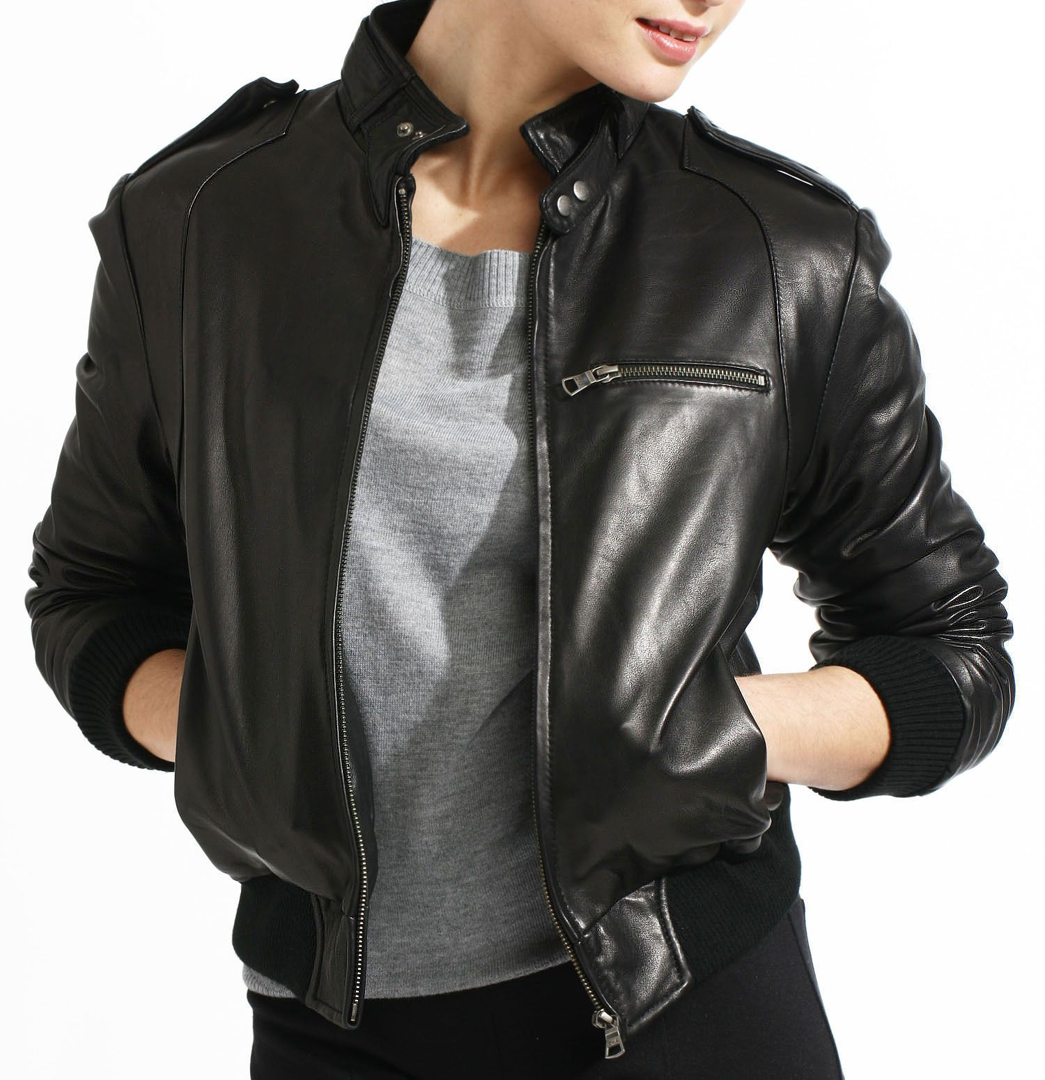 Classic Black Leather Bomber Jacket for Women Leather