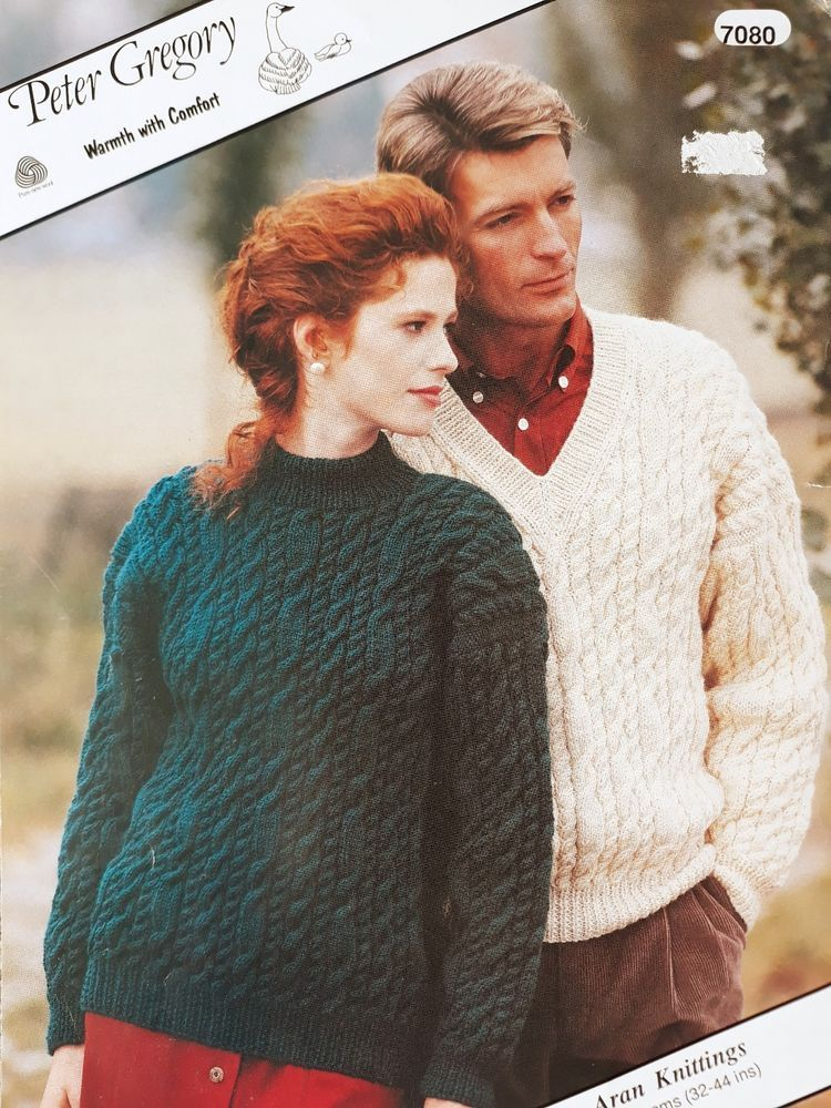 af4ab3fe12bb Knitting pattern Peter Gregory 7080 unisex aran cable sweaters - crew or v- neck
