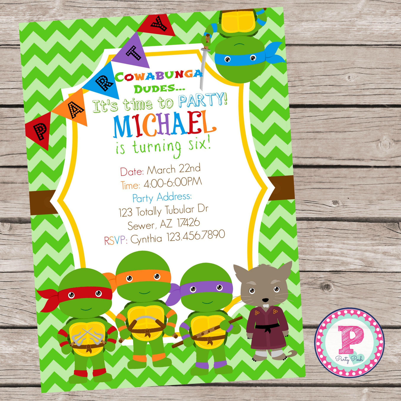 Ninja Turtle Party Invitation By Partyposhprintables Turtle