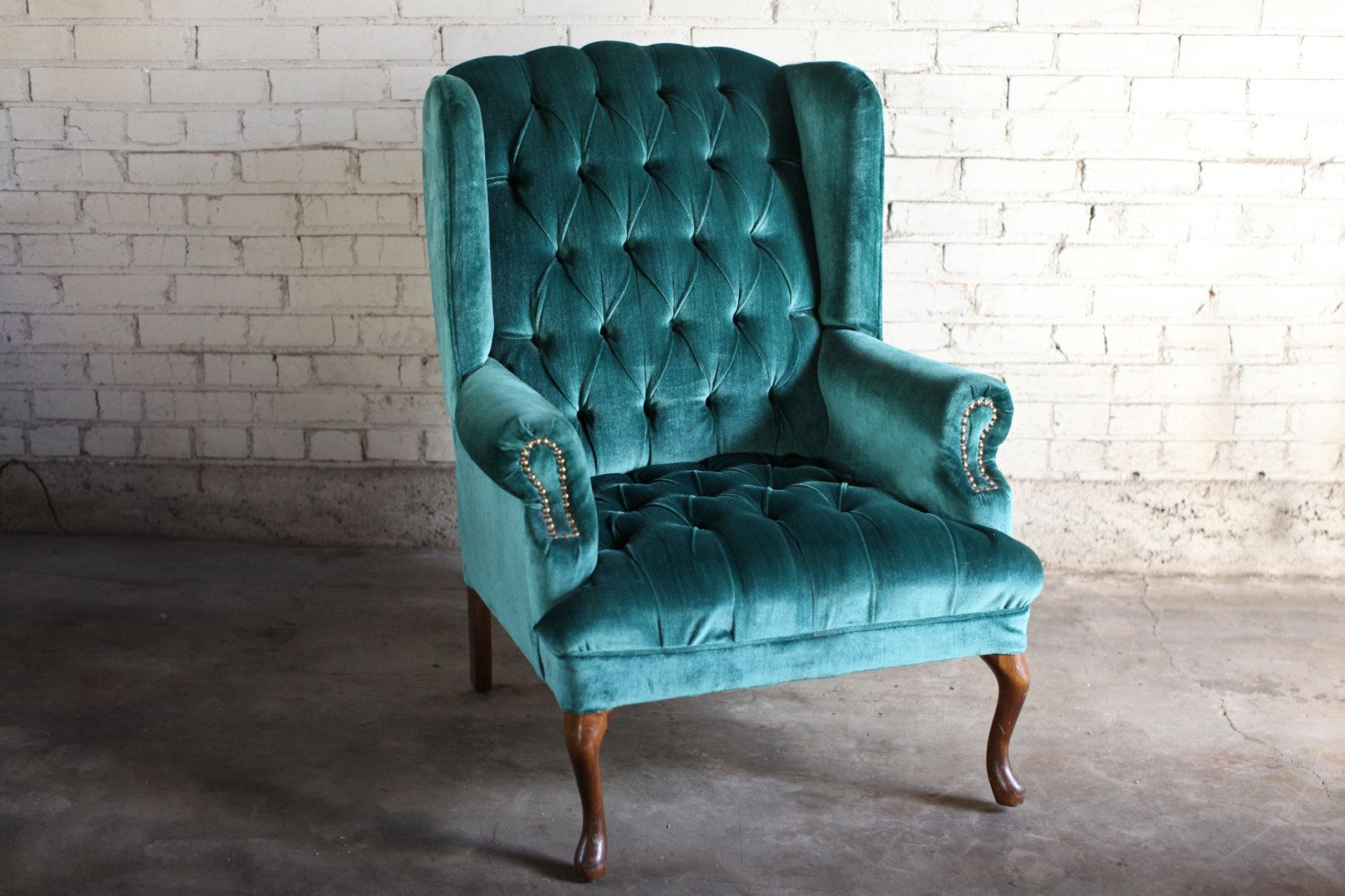 Teal Green Velvet Tufted Wingback Chair by