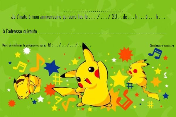 Carte Invitation Anniversaire Pokemon Pikachu