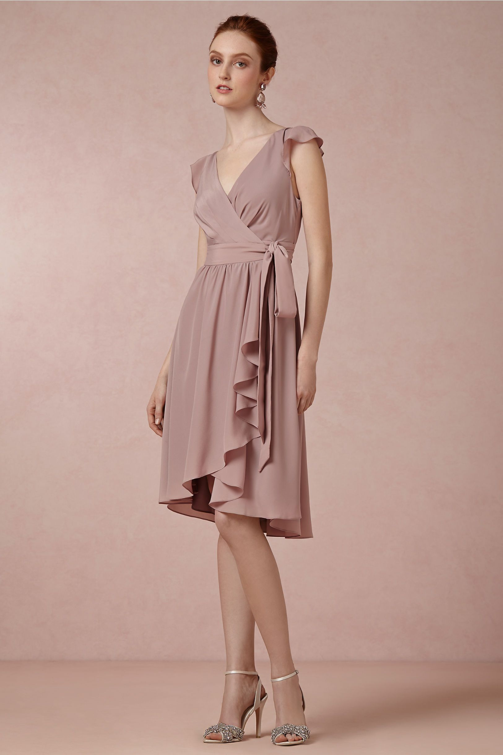 Sydney Dress in dusty mauve from BHLDN. Flutter sleeves and wrap ...