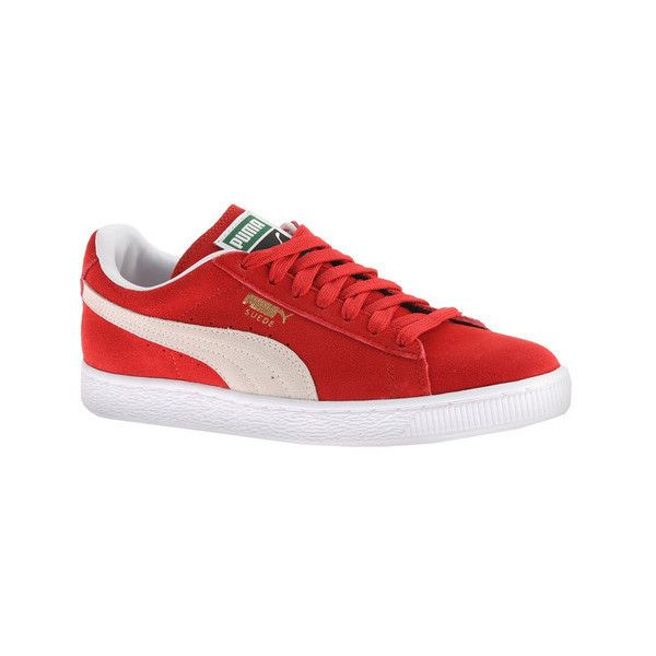 Women's PUMA Suede Classic+ Sneaker (€53) ❤ liked on Polyvore featuring shoes, sneakers, casual, puma trainers, white trainers, red suede sneakers, red sneakers and red evening shoes