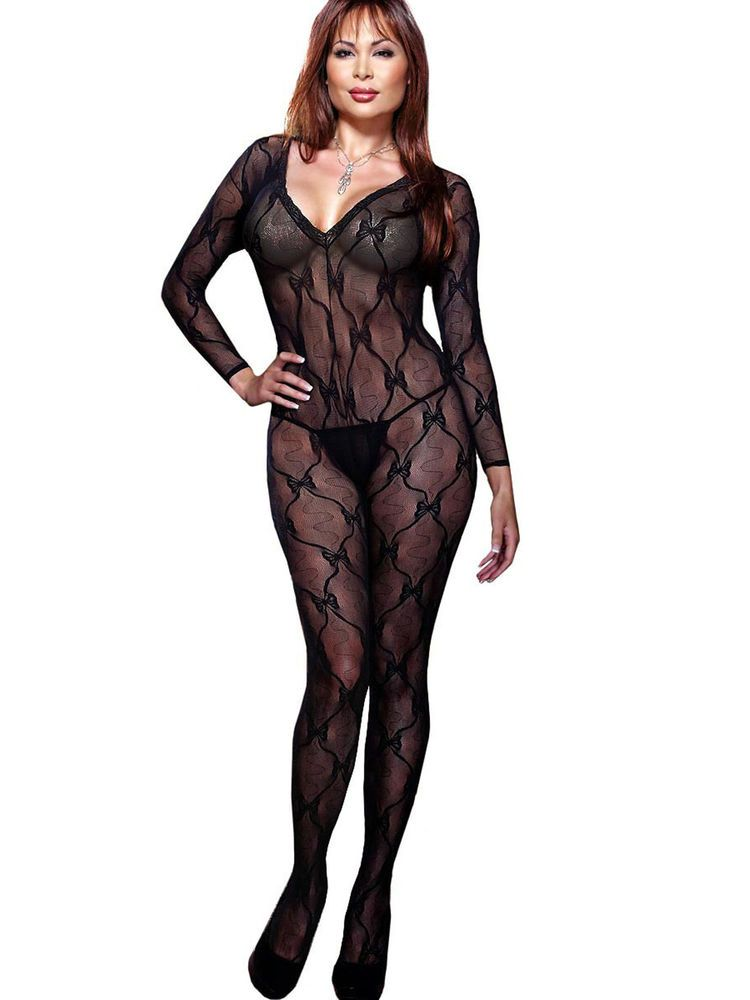 66b195af3 Sexy Plus Size Hosiery Lingerie Bow Lace Bodystocking- Fits size 16-22   Dreamgirl  Bodystockings