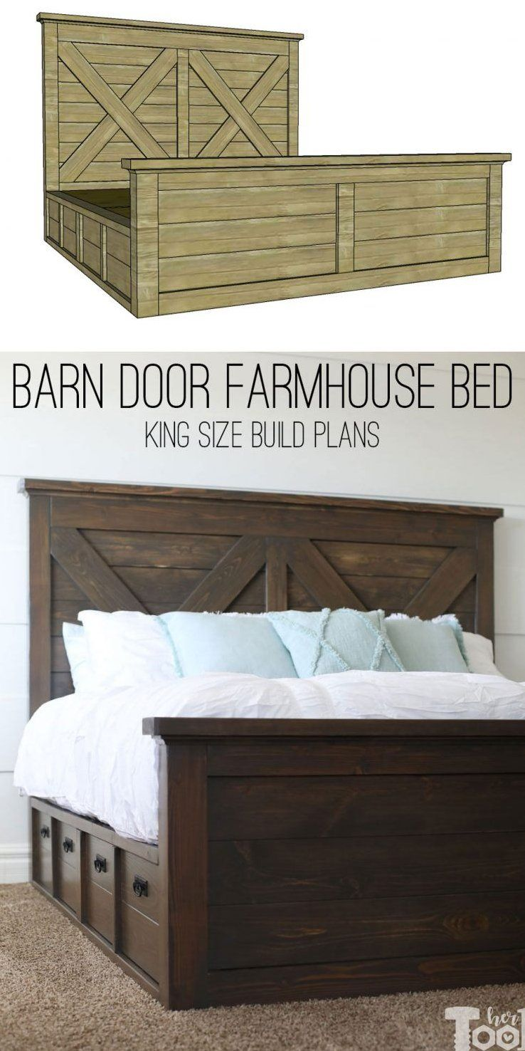 King X Barn Door Farmhouse Bed Plans Free Plans To Build A King Size Barn Door Farmhouse Bed With Doubl Diy Farmhouse Bed Farmhouse Bed Frame Farmhouse Bedding
