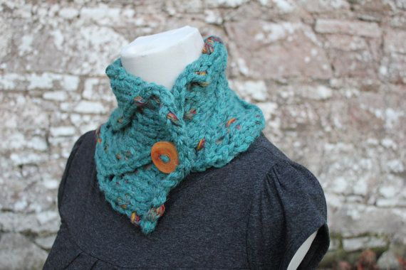 Knitting Pattern For Women Vesuvio Button Neckwarmer Collar Scarf