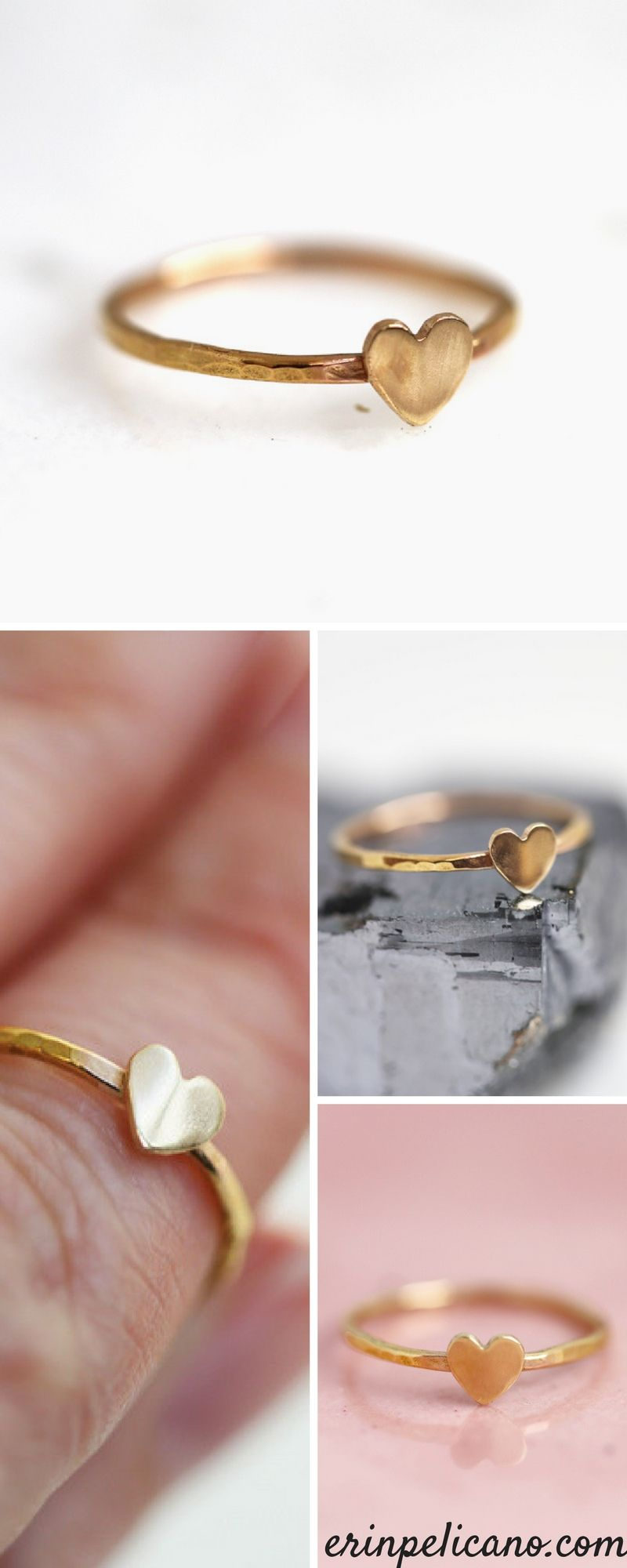 66478bf9e Gold heart rings, heart stacking ring to celebrate love! Anniversary Gift  ideas for wife, Mothers Day gifts for wife, and daughter - in fine 14k gold.