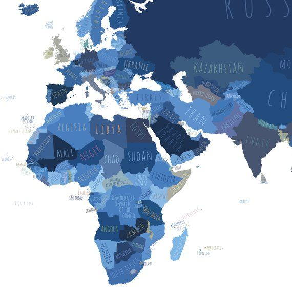 World map with countries, PRINTABLE Map of the World wall art Indigo