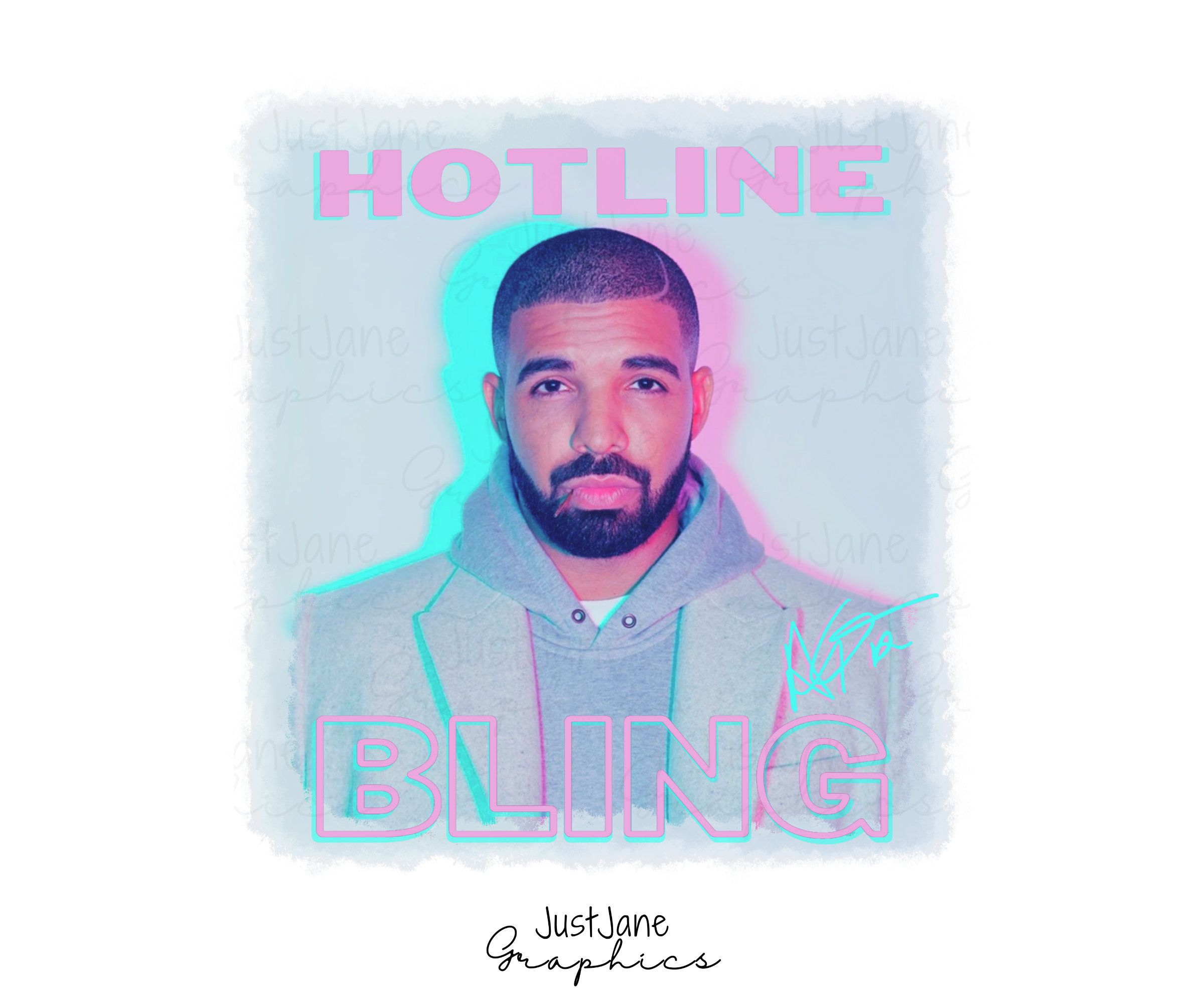 Drake Hotline Bling Neon Print Sublimation Transfer Png File Etsy In 2021 Neon Printing How To Make Tshirts Personalized Gift Baskets