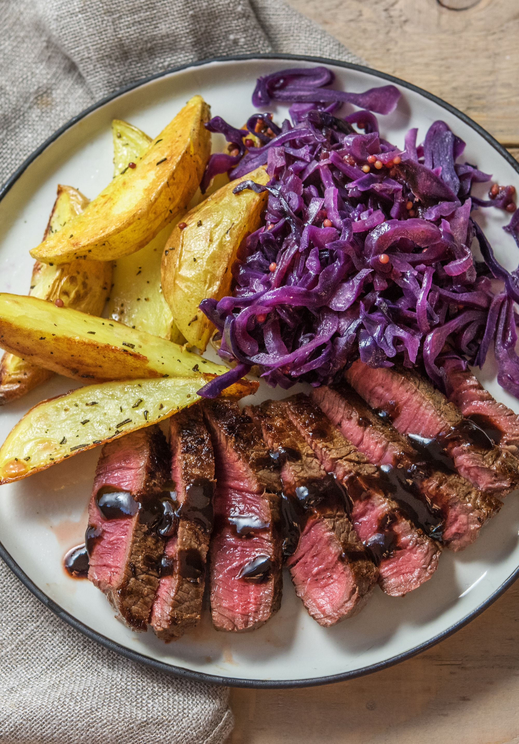 Hearty Steak And Potatoes With Balsamic Cranberry Pan Sauce
