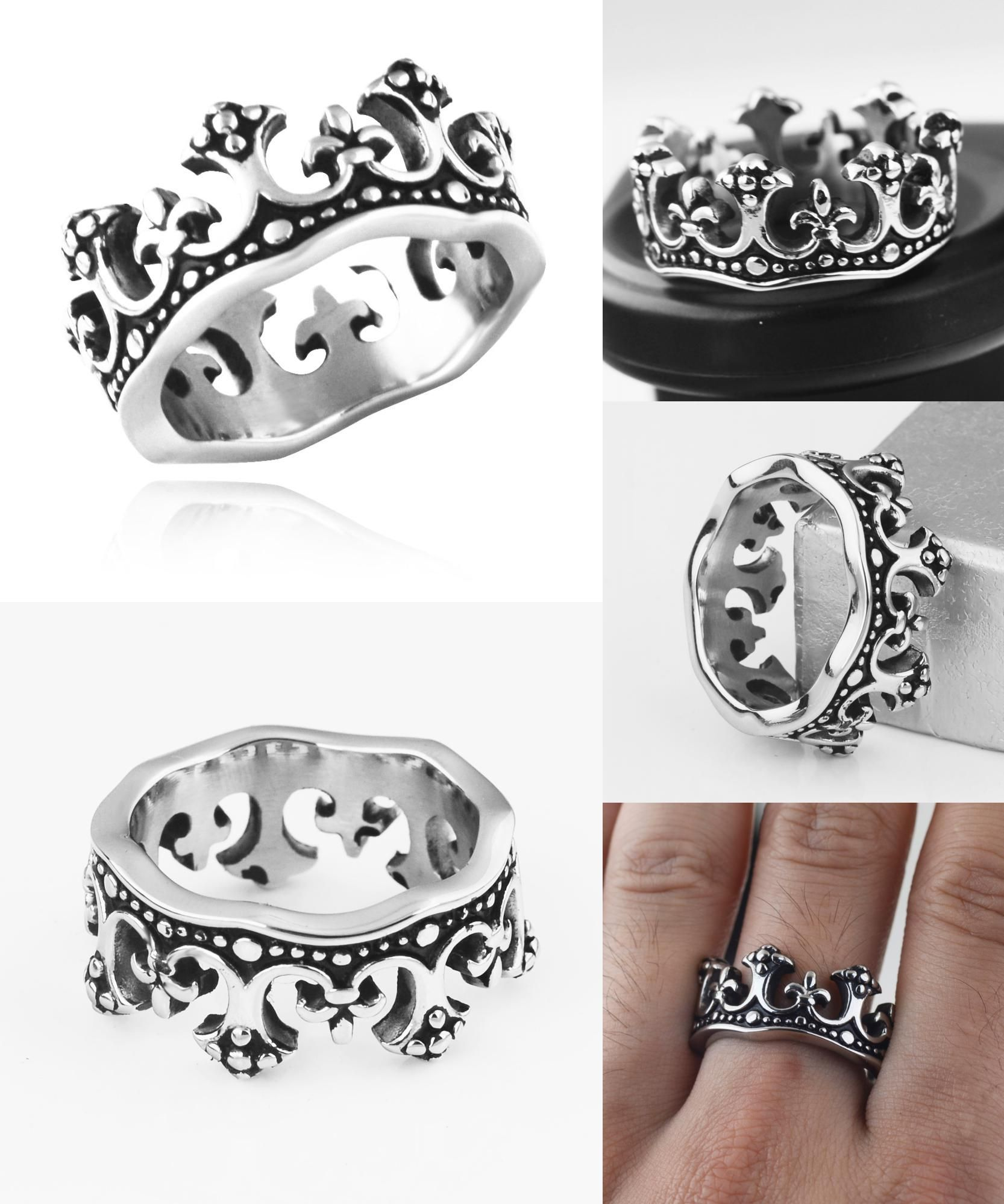 Visit To Buy Valily Jewelry Men Ring Quality The King Crown Stainless Steel: Wedding Ring Art Deco Adver At Reisefeber.org