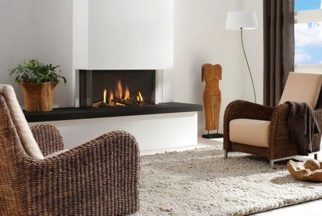 Den Sitzbereich vor dem Kamin im Wohnbereich gemütlich einrichten - wohnzimmer modern gemutlich