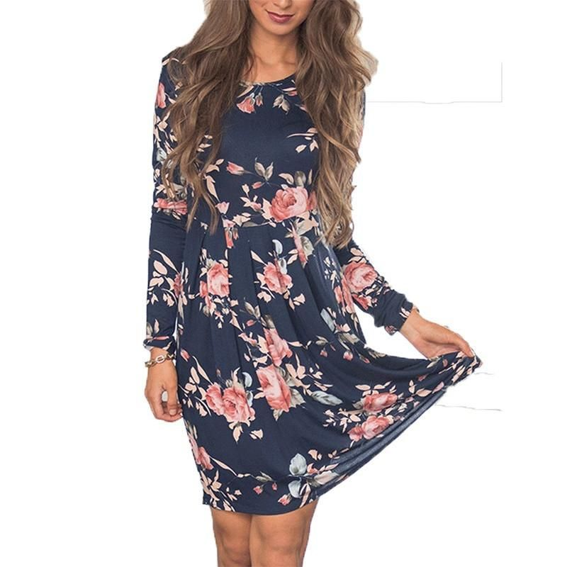 Women s Long Sleeve Floral Casual Pleated Swing Dress Material  Polyester .  Sizes  S 368c3765924e