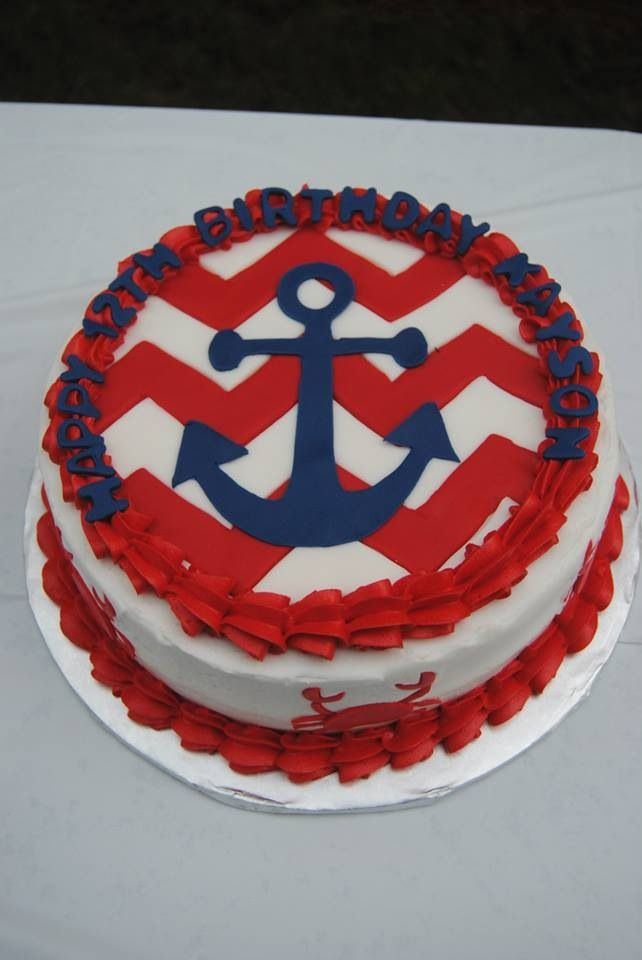 Nautical Themed Birthday Cake With Anchor Chevron And Crabs