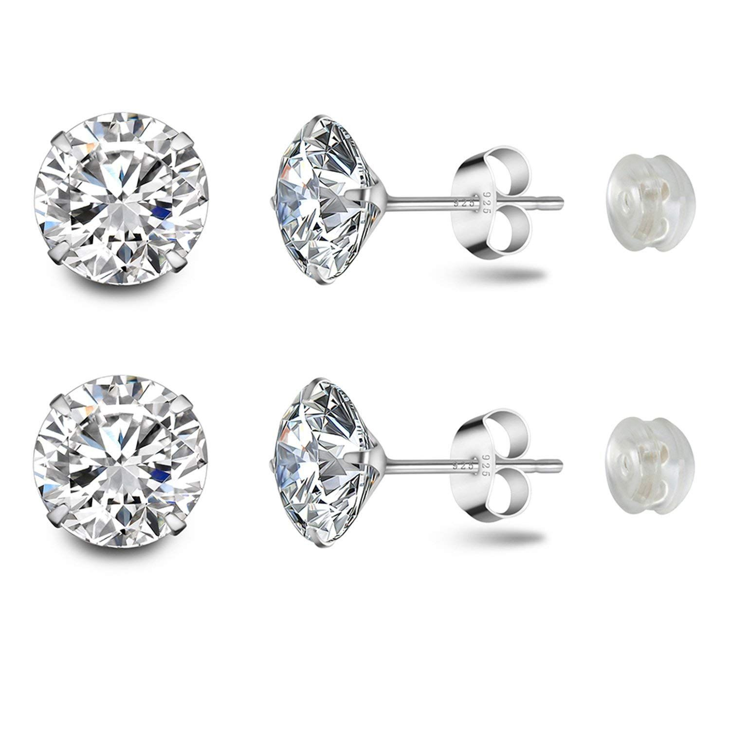 b2468570f Stud Earrings Platinum Plated Sterling Silver Round Cut Cubic Zirconia 8mm  2.5 Carat Fashion Jewelry for Women and Girls's Ear Lobe with Gift Box *  Thanks ...