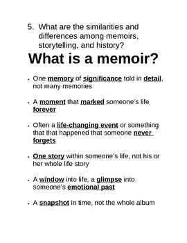 memoirs worksheets activities