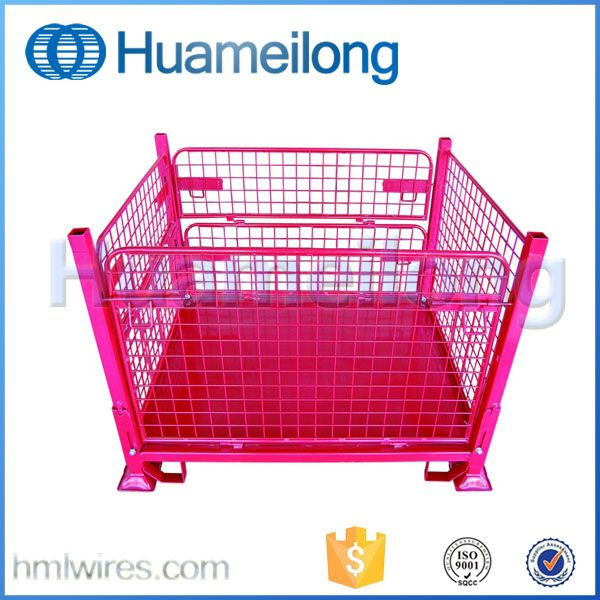 Collapsible Cargo Forklift Foldable Storage Metal Safety Cage Steel Storage Containers Storage Containers With Wheels Steel Cage