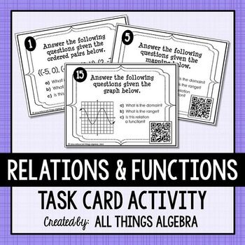 Relations, Functions, Domain and Range Task Cards | Math Stuff ...