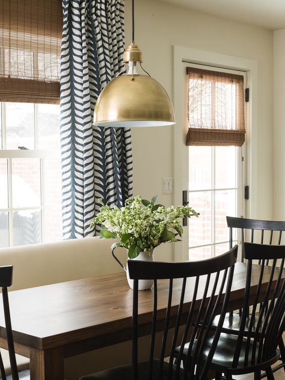 Ideas For Dining Room Curtains Part - 33: Dining Room Decor Ideas - Tranquil, Comfortable, Modern Country Living With  Bronze School House Light Fixture And Blue And White Patterned Curtains.