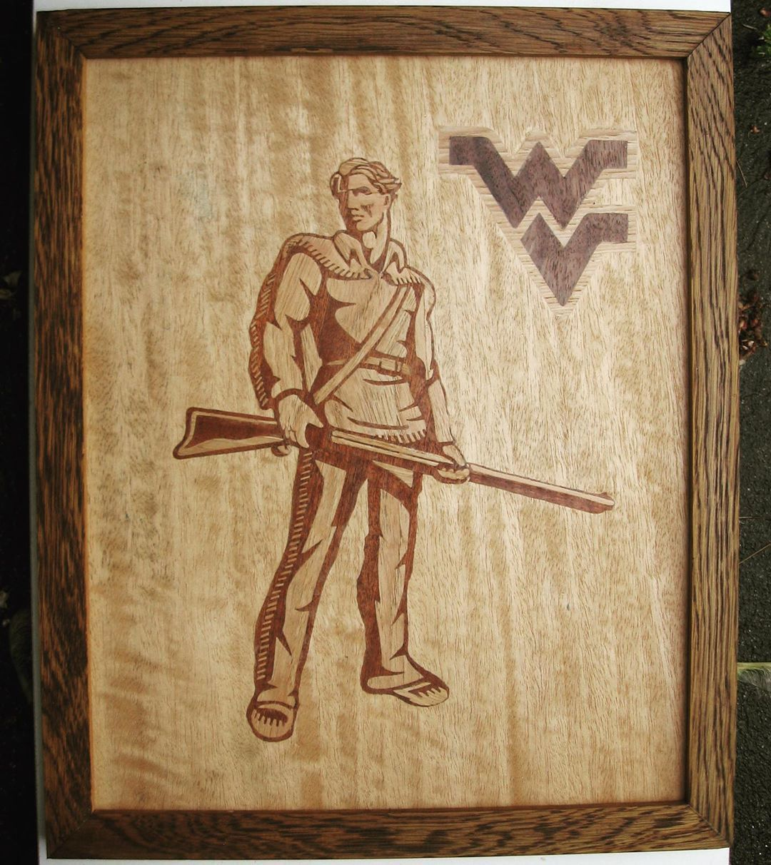 Made this for family. Custom orders available, see Etsy link in my bio!  #marquetry #woodwork #westvirginia #wvu #mountaineers #football #art #artist #marquetryart #artistic #woodart #college #collegefootball #etsy #homemade #handmade #design #interiordesign #wallart #smallbusiness #etsyshop #christmasshopping #ideas #wood #framed #wvumountaineers Made this for family. Custom orders available, see Etsy link in my bio!  #marquetry #woodwork #westvirginia #wvu #mountaineers #football #art #artist #wvumountaineers