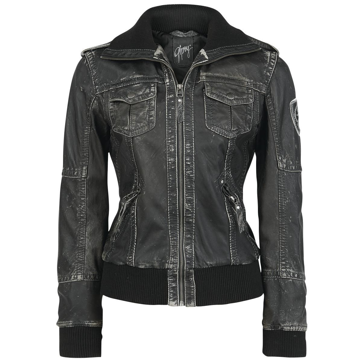 Short jacket made of lambskin leather in Vintage-style:  - 2 zipped slip-in pockets - 2 chest pockets with poppers - corduroy cuffs and collar made of 95% polyacrylics and 5% elasthane - lining: 100%...