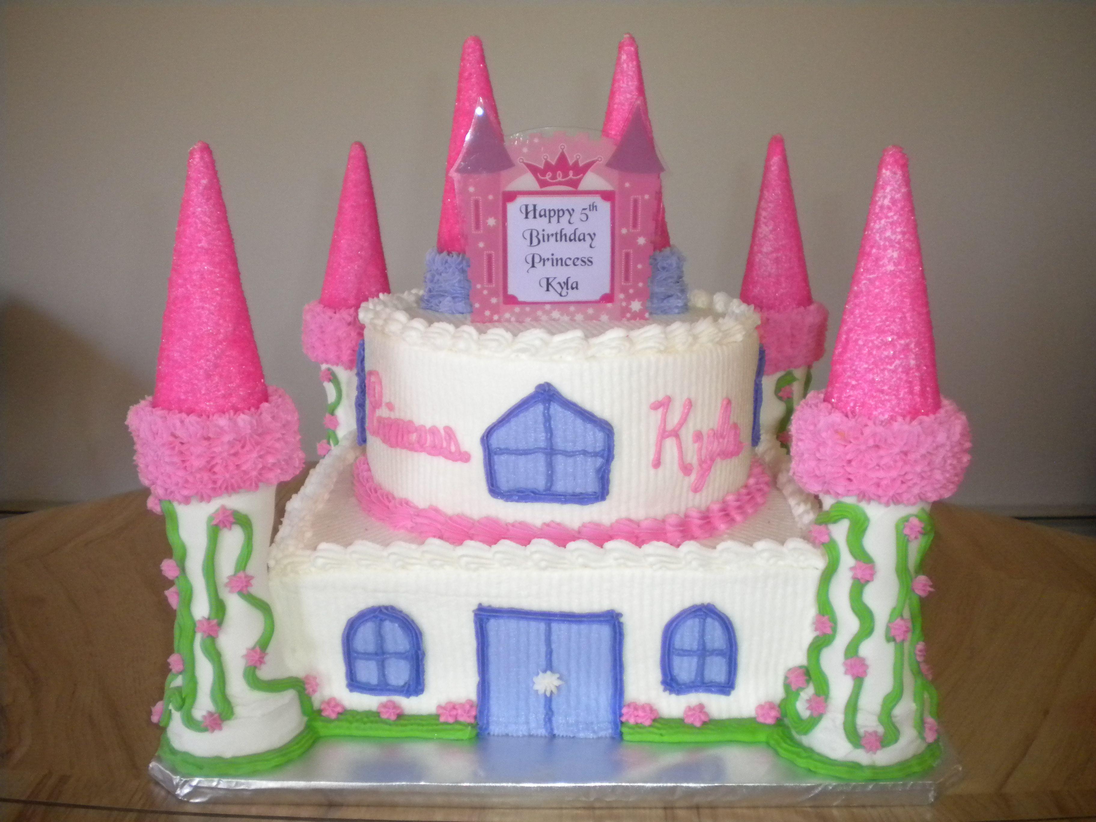 Princess Castle Cake 10 Vanilla square cake on bottom with 8