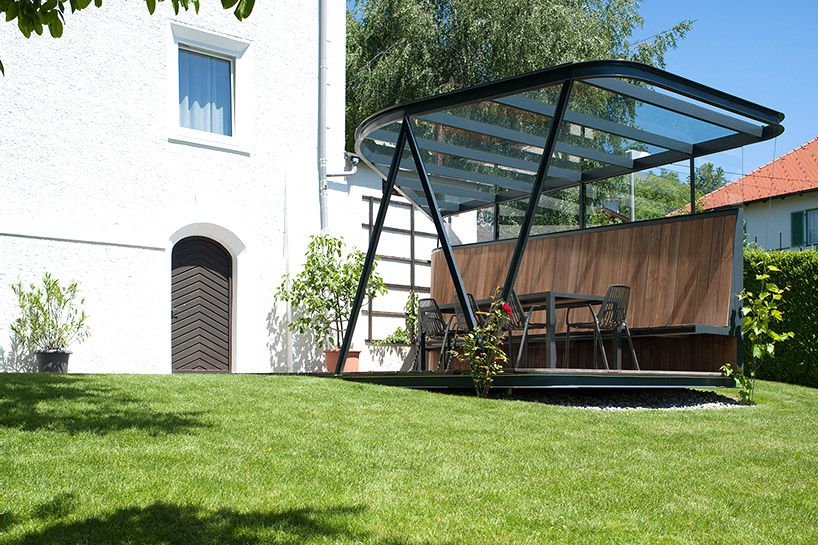 Mario Gasser Constructs Steel Roofed Terrace For Austrian Villa Rustic Pergola Patio Roof Architecture