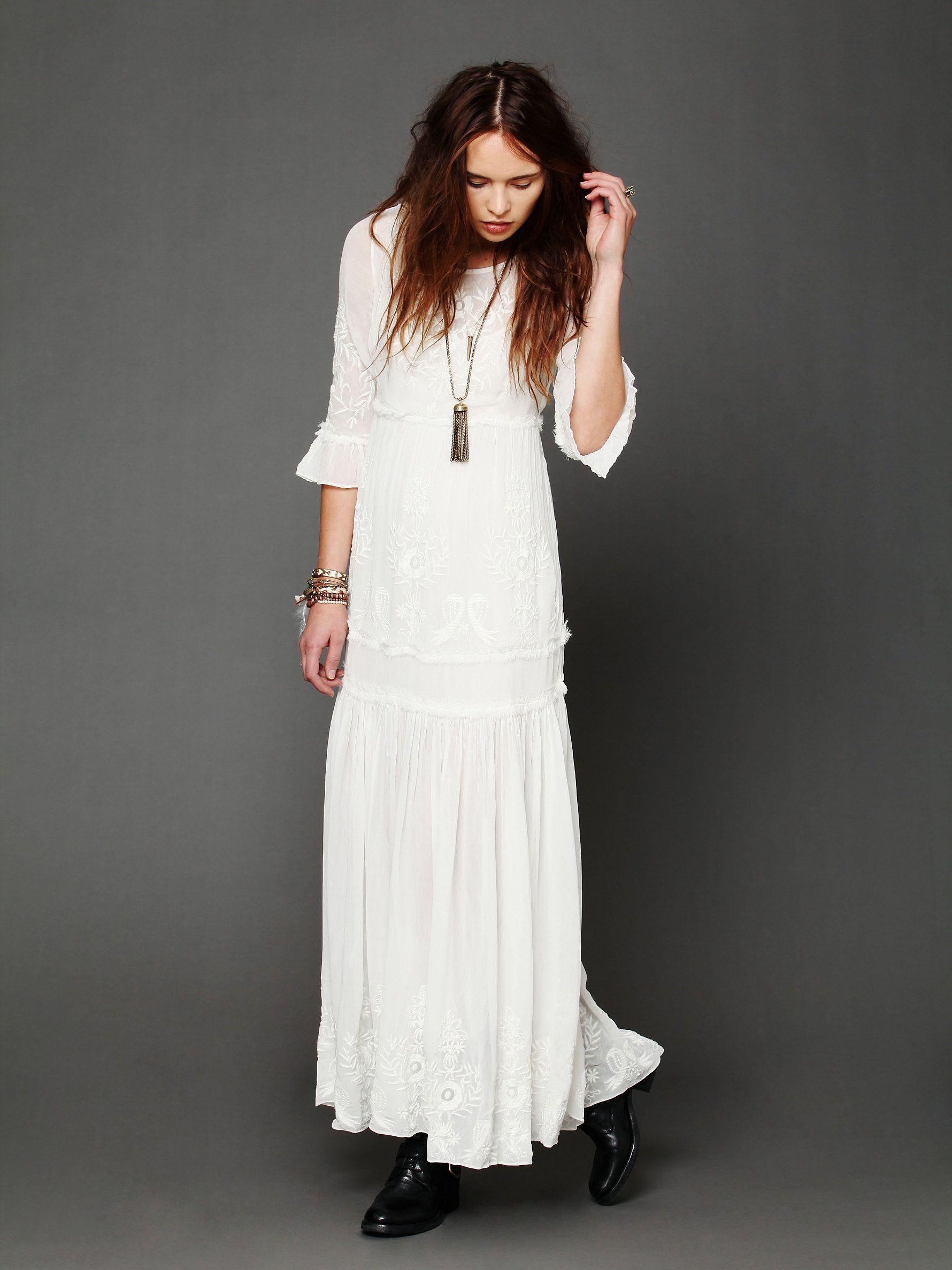 White Romance Embroidered Maxi Hippie Dresses White Maxi