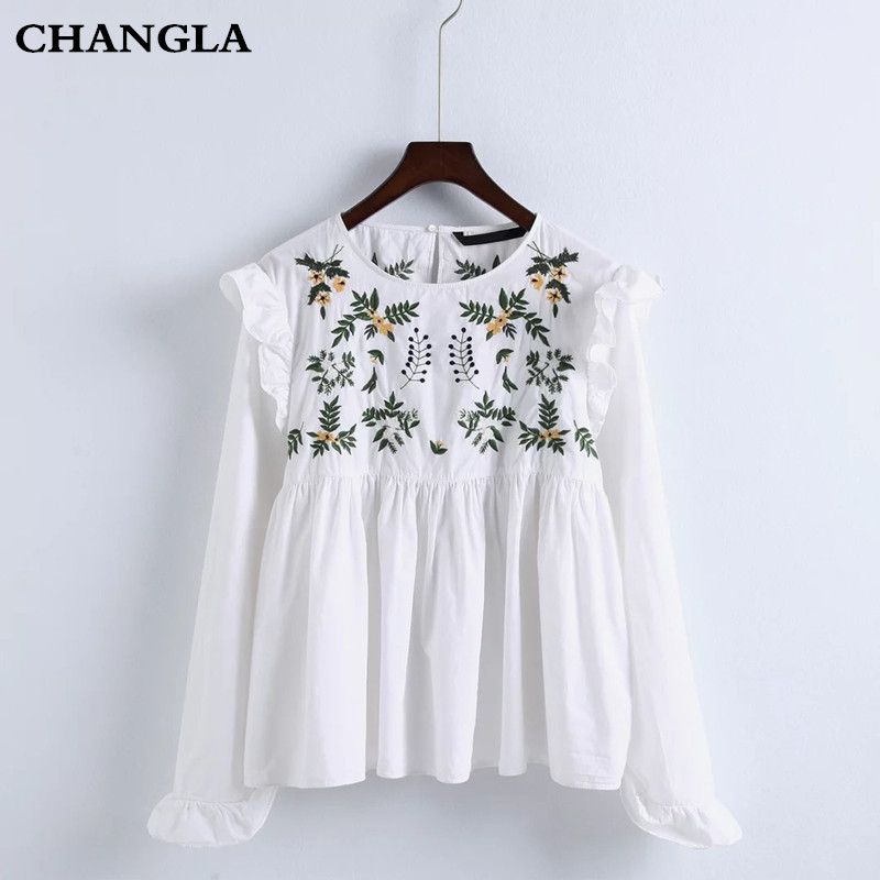CHANGLA 2017 Women Blouses Embroidery Ruffles Shirts Long