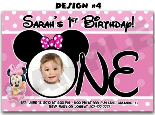 Minnie Mouse Photo FIRST Birthday Party Invitations Mickey